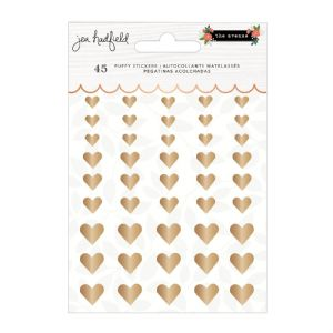 Pebbles - The Avenue - Puffy Gold Heart Stickers (736966)
